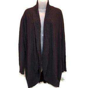 Style & Co Womens L Duster Ribbed Trim Open Front